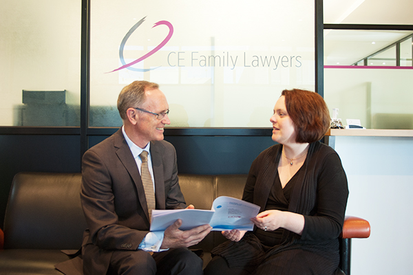 Warren Howard with Jane Libbis at CE Family Lawyers during an executive strategy session